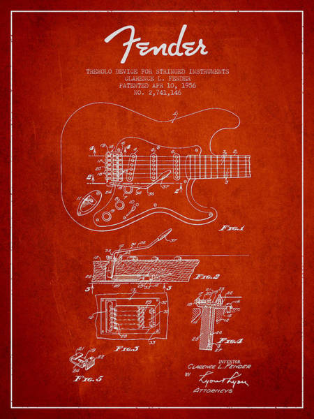 Wall Art - Digital Art - Fender Tremolo Device Patent Drawing From 1956 by Aged Pixel