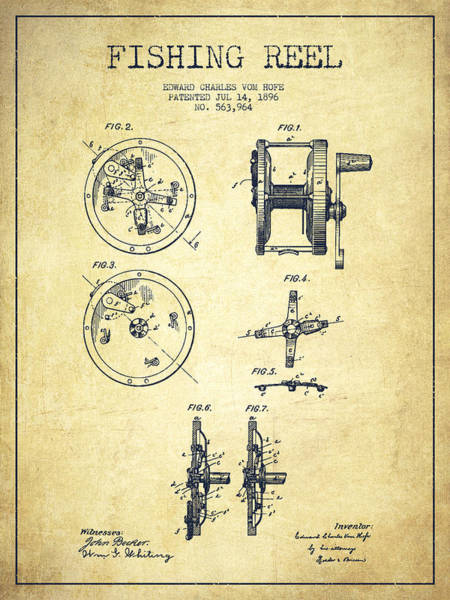 Wall Art - Drawing - Fishing Reel Patent From 1896 by Aged Pixel
