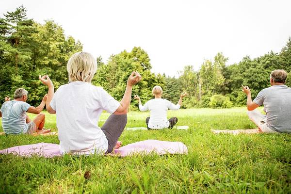 Wall Art - Photograph - Four People Doing Yoga In Field by Science Photo Library