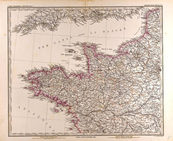 Wall Art - Drawing - France Map 1874 Gotha Justus Perthes 1872 Atlas by French School