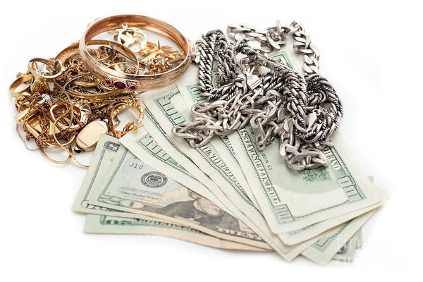 Photograph - Gold And Silver Pile Scrap And Cash Dollar by Gunter Nezhoda