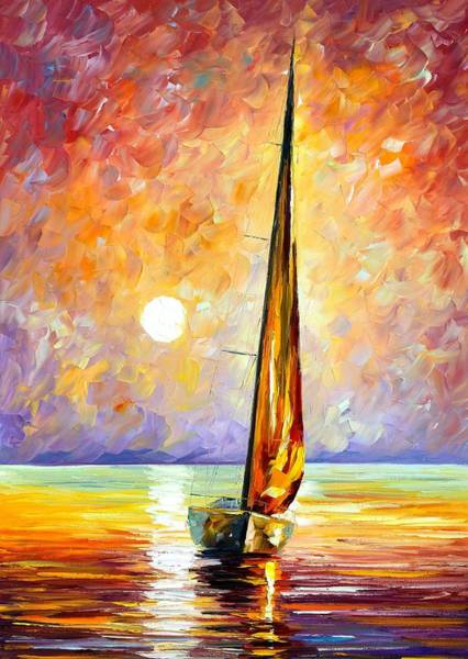 Magic Realism Painting - Gold Sail by Leonid Afremov