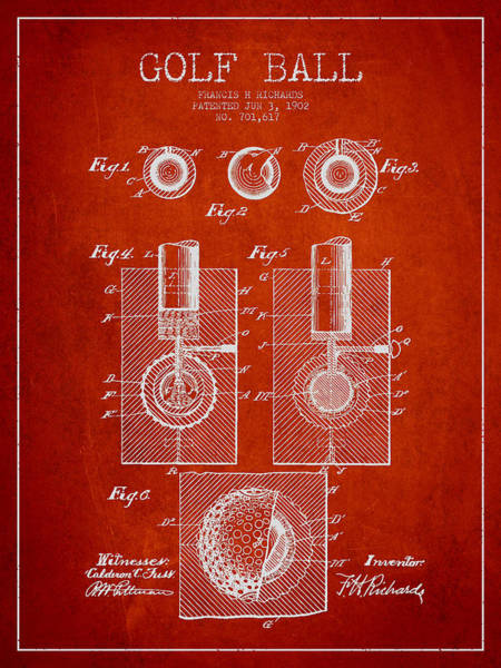 Golfing Digital Art - Golf Ball Patent Drawing From 1902 by Aged Pixel