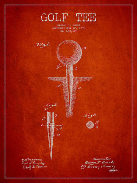Wall Art - Digital Art - Golf Tee Patent Drawing From 1899 by Aged Pixel