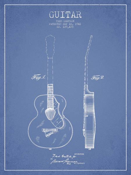Wall Art - Digital Art - Gretsch Guitar Patent Drawing From 1941 - Light Blue by Aged Pixel
