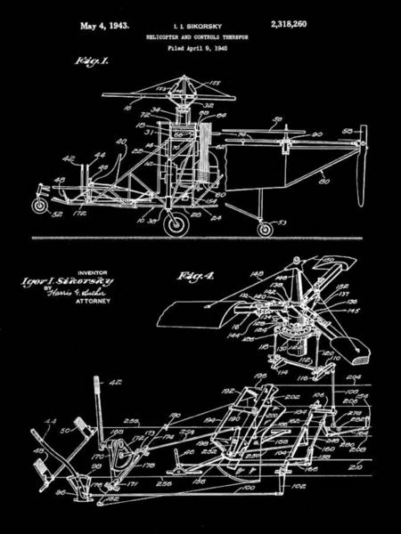 Wall Art - Digital Art - Helicopter Patent 1940 - Black by Stephen Younts