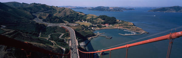 San Francisco Harbor Photograph - High Angle View Of A Suspension Bridge by Panoramic Images