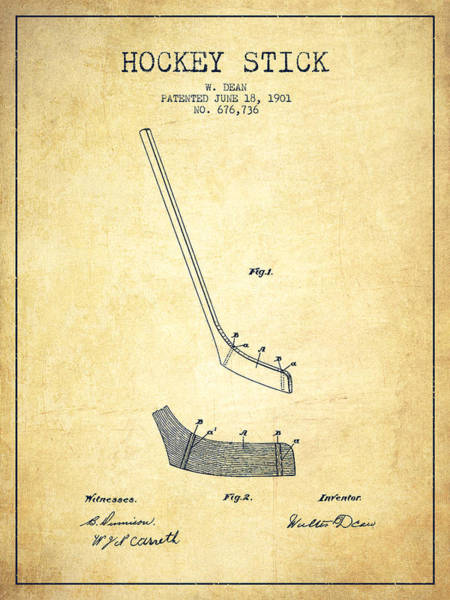 Hockey Sticks Digital Art - Hockey Stick Patent Drawing From 1901 by Aged Pixel