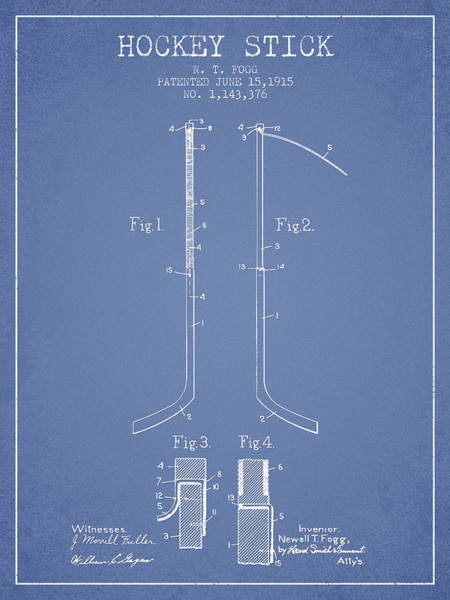 Hockey Sticks Digital Art - Hockey Stick Patent Drawing From 1915 by Aged Pixel