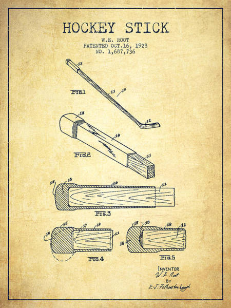 Hockey Sticks Digital Art - Hockey Stick Patent Drawing From 1928 by Aged Pixel