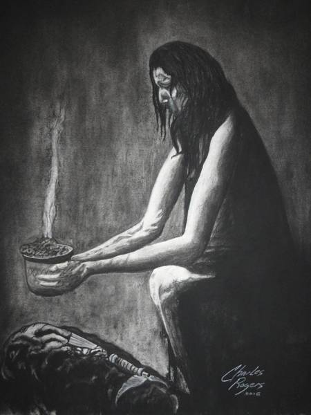 Wall Art - Drawing - Incense Over Medicine Bundle by Charles Rogers