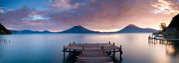 Guatemala Photograph - Jetty In A Lake With A Mountain Range by Panoramic Images