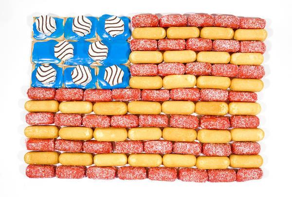 Zebra Cake Wall Art - Photograph - Junk Food Flag by JP Tripp