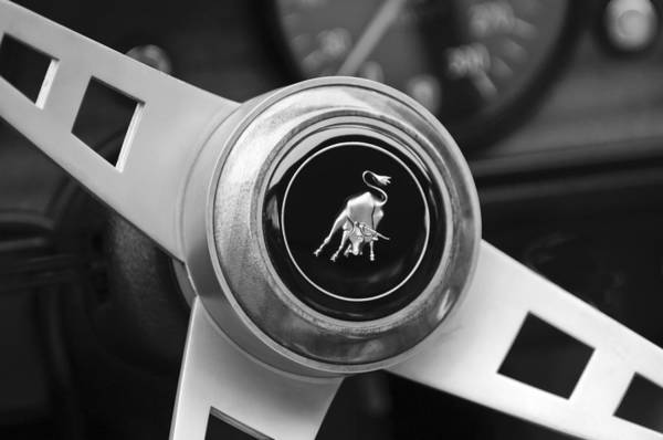 Steering Wheel Wall Art - Photograph - Lamborghini Steering Wheel Emblem by Jill Reger