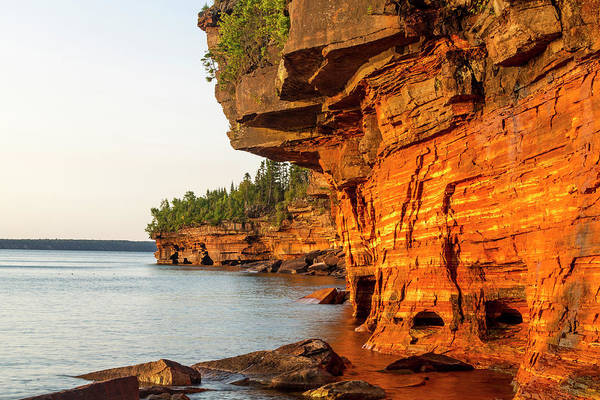 National Lakeshore Wall Art - Photograph - Layered Sandstone Cliffs And Sea Caves by Chuck Haney