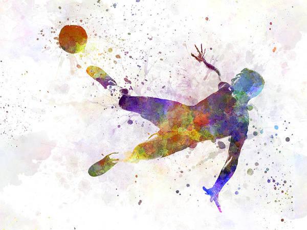 Wall Art - Painting - Man Soccer Football Player Flying Kicking by Pablo Romero