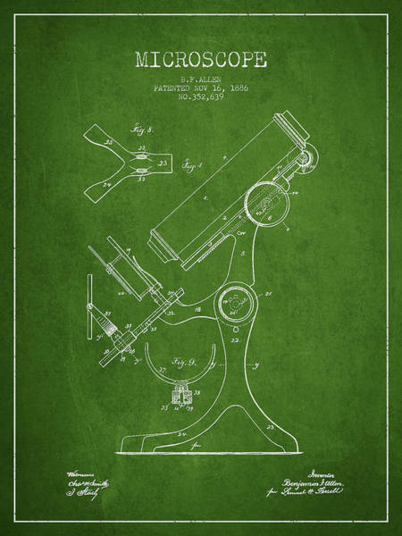 Wall Art - Digital Art - Microscope Patent Drawing From 1886 - Green by Aged Pixel