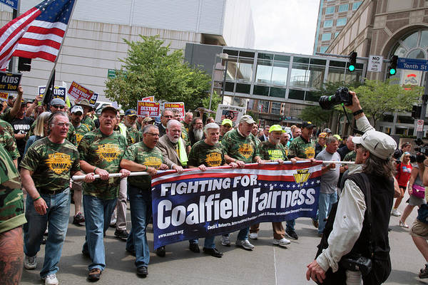 Placard Photograph - Miners Rally Against Coal Burning Limits by Jim West