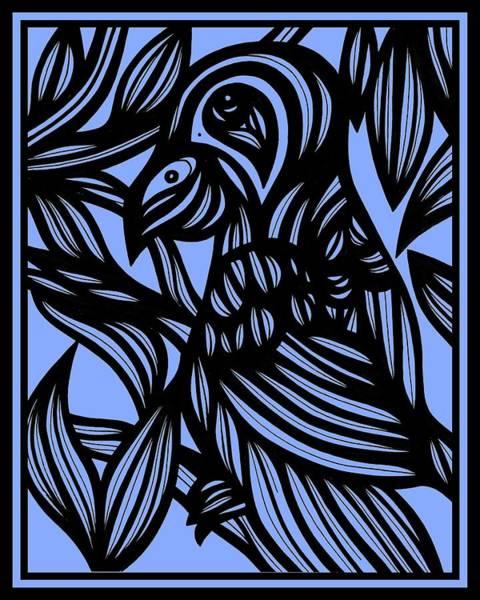 Blue Parrot Drawing - Mist In The Silk by Eddie Alfaro