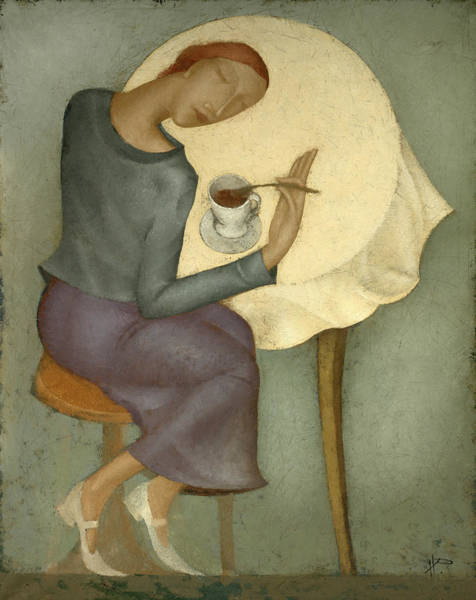 Finger Painting - Morning Coffee by Nicolay  Reznichenko