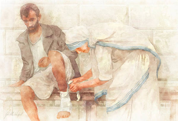 Compassion Painting - Mother Teresa by John Alan  Warford