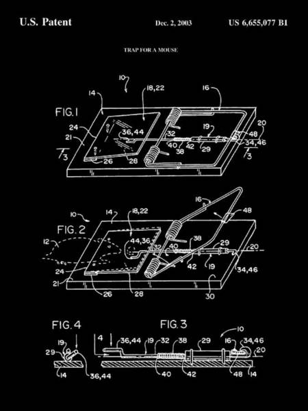 Conn Wall Art - Digital Art - Mouse Trap Patent - Black by Stephen Younts