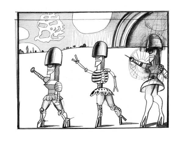 Ancient Egypt Drawing - New Yorker February 23rd, 1976 by Saul Steinberg