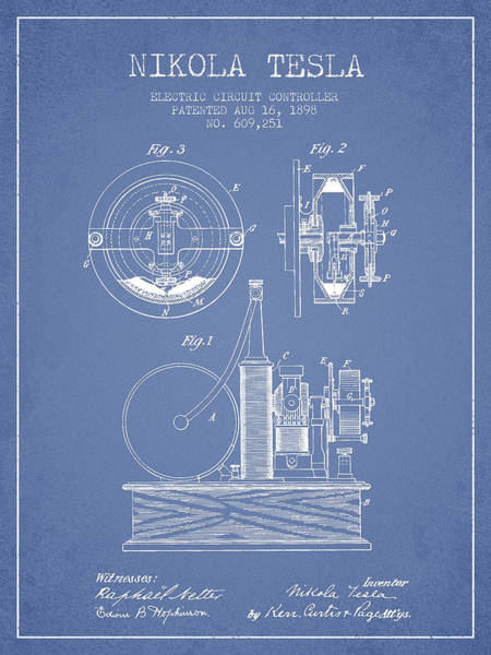 Electricity Digital Art - Nikola Tesla Electric Circuit Controller Patent Drawing From 189 by Aged Pixel