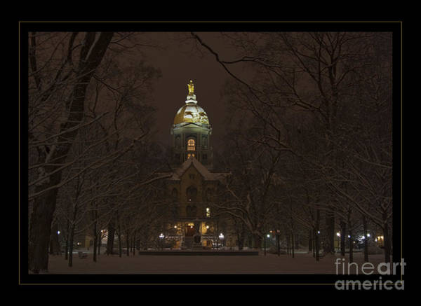 Wall Art - Photograph - Notre Dame Golden Dome Snow Poster by John Stephens