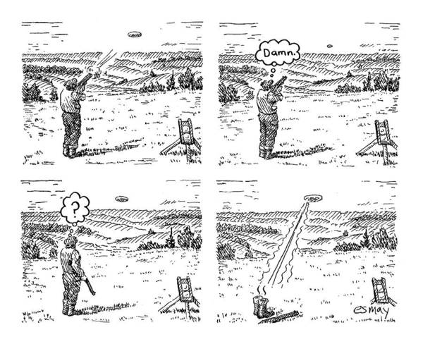 4 Drawing - 4 Panels.  Man Shoots At A Grout Which Then Turns by Rob Esmay