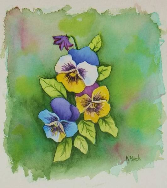 Wall Art - Painting - Pansies by Katherine Young-Beck