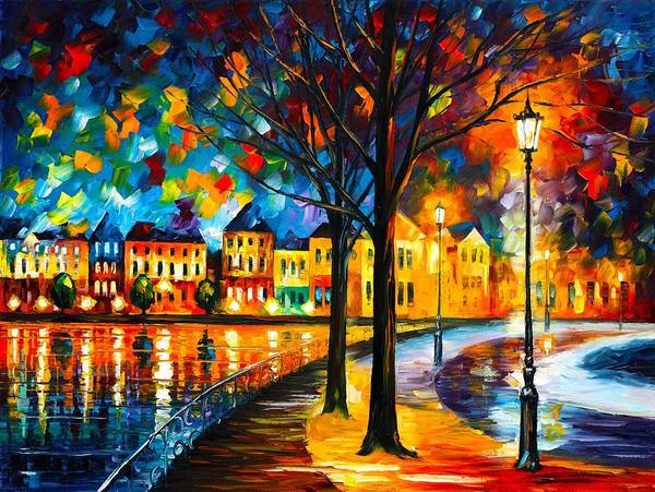 Magic Realism Painting - Park By The River by Leonid Afremov