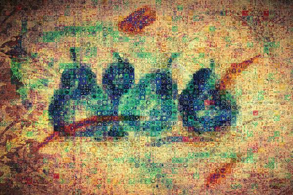 Blue Wall Art - Painting - 4 Pears Mosaic by Paula Ayers