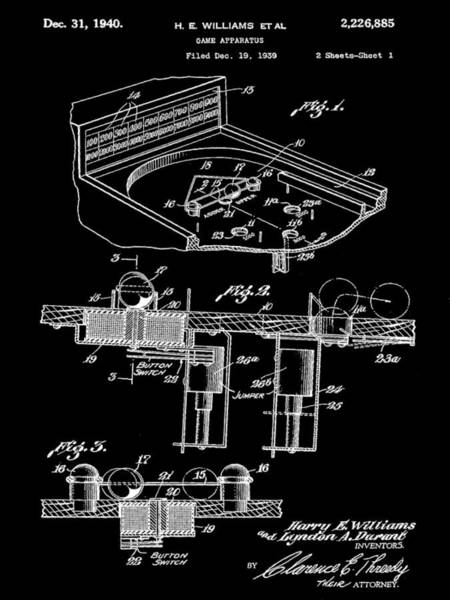 Pinball Digital Art - Pinball Machine Patent 1939 - Black by Stephen Younts