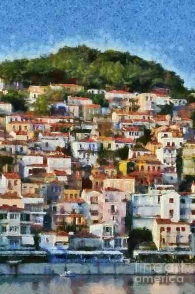 Greek House Painting - Plomari Town by George Atsametakis