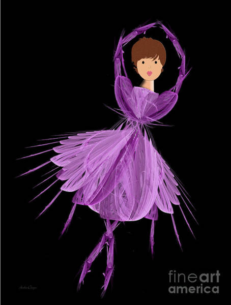 Digital Art - 4 Purple Ballerina by Andee Design