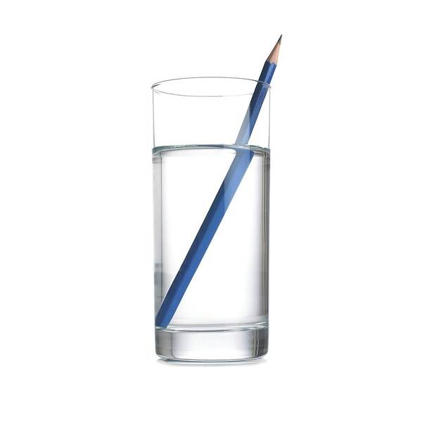 Optics Photograph - Refraction In A Glass Of Water by Science Photo Library