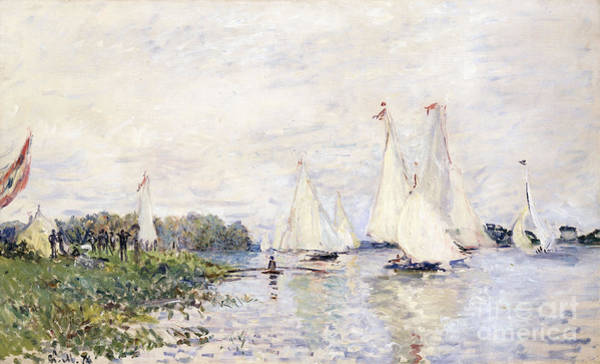 Impressionistic Sailboats Painting - Regatta At Argenteuil by Claude Monet