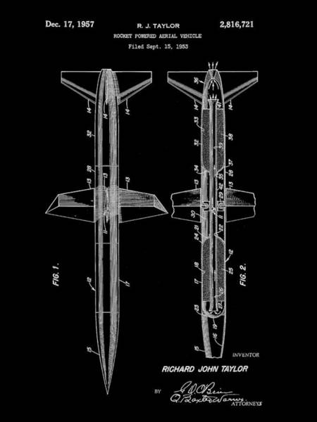 Weaponry Digital Art - Rocket Patent 1953 - Black by Stephen Younts
