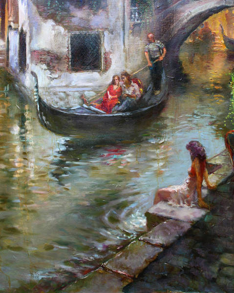 Wall Art - Painting - Romance In Venice  by Ylli Haruni