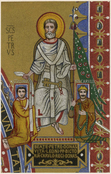 Wall Art - Drawing - Saint Peter The First Pope, Depicted by Mary Evans Picture Library