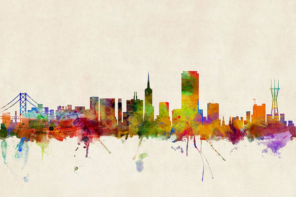 Golden Digital Art - San Francisco City Skyline by Michael Tompsett