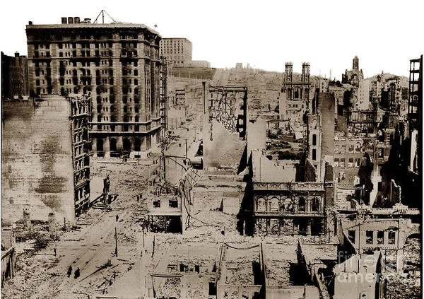 Photograph - Nob Hill From The Flood Building San Francisco Earthquake And Fire Of April 18 1906 by California Views Archives Mr Pat Hathaway Archives