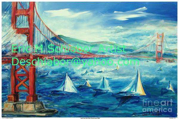 Impressionistic Sailboats Painting - San Francisco Golden Gate Bridge by Eric  Schiabor