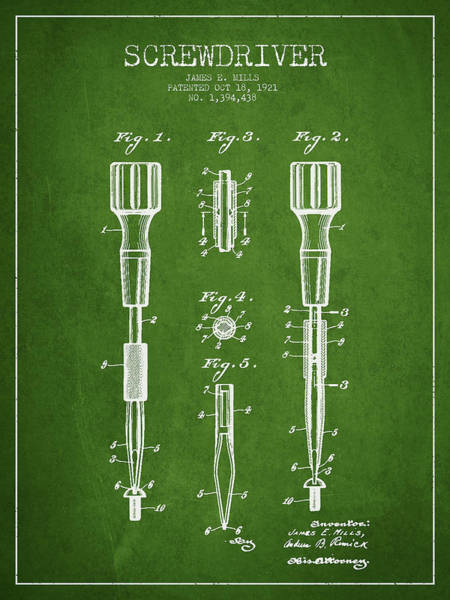 Construction Digital Art - Screwdriver Patent Drawing From 1921 by Aged Pixel
