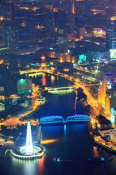 Photograph - Shanghai Aerial At Dusk by Songquan Deng
