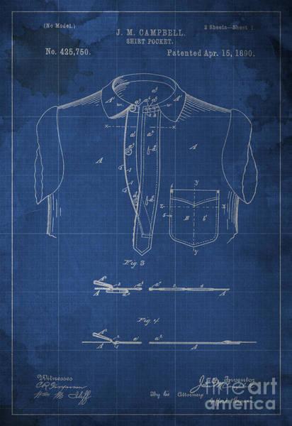 Patent Drawing - Shirt Pocket Blueprint Patent by Drawspots Illustrations