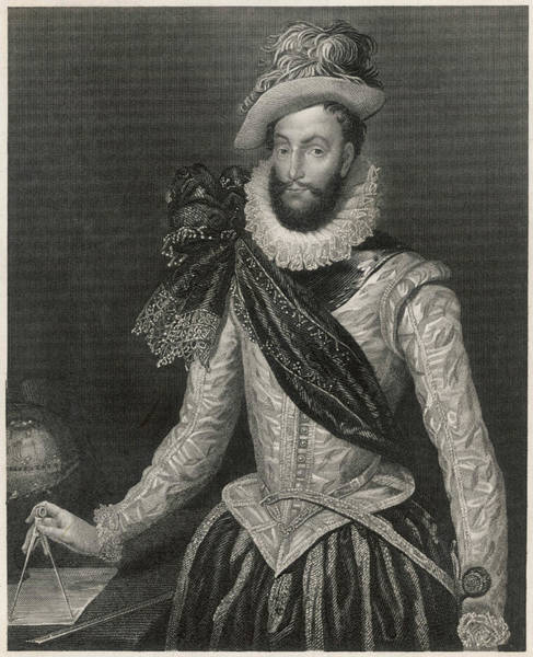 Wall Art - Drawing - Sir Walter Raleigh  English Courtier by Mary Evans Picture Library