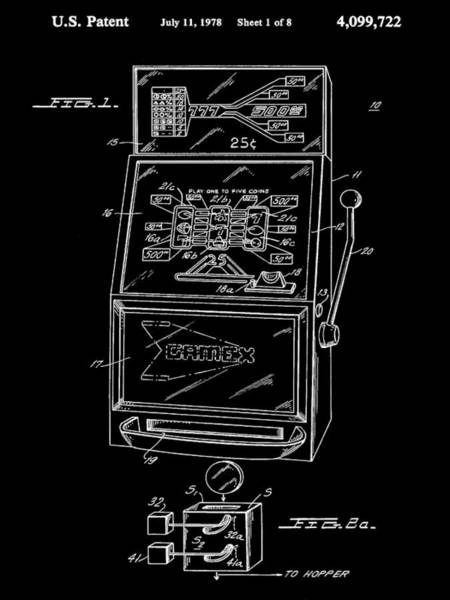 Wall Art - Digital Art - Slot Machine Patent 1978 - Black by Stephen Younts