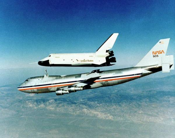 In Flight Photograph - Space Shuttle Prototype Testing by Nasa